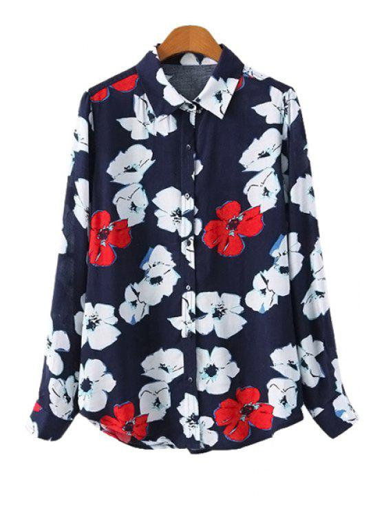 chic Flower Print Long Sleeve Shirt - BLUE S