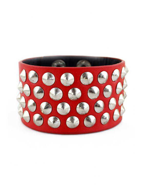 best Rivet Embellished Bracelet - RED