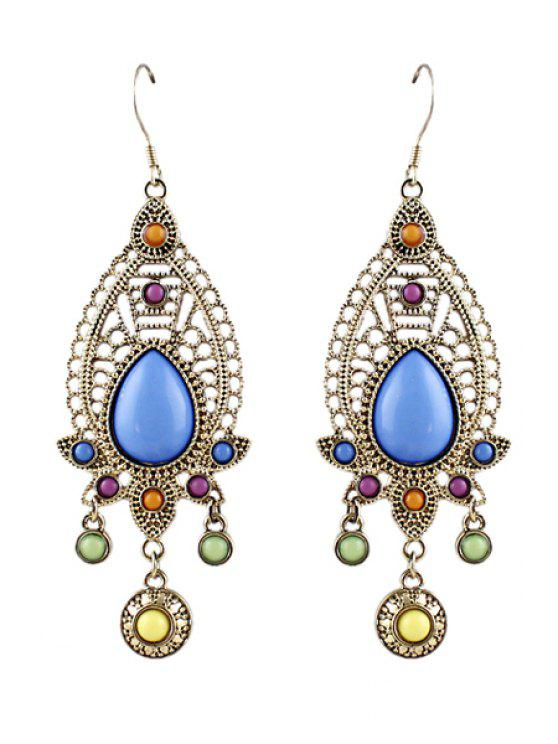 trendy Pair of Faux Gemstone Waterdrop Earring - AS THE PICTURE