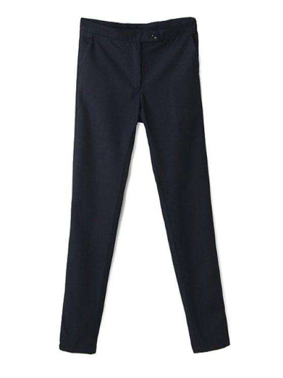outfits Narrow Feet Solid Color Pants - BLACK M