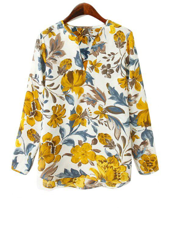 women's V-Neck Floral Print Blouse - YELLOW S