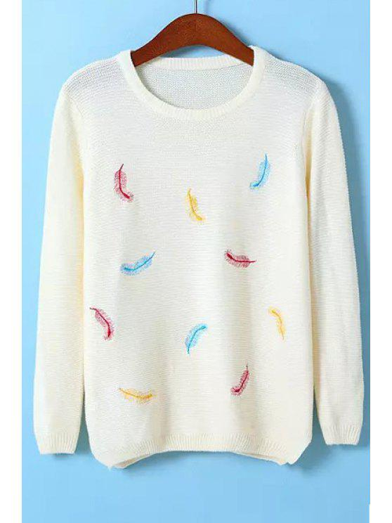 women Feather Embroidery Jewel Neck Sweater - WHITE ONE SIZE(FIT SIZE XS TO M)