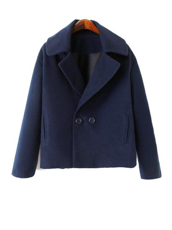 lady Solid Color Lapel Collar Worsted Coat - PURPLISH BLUE S