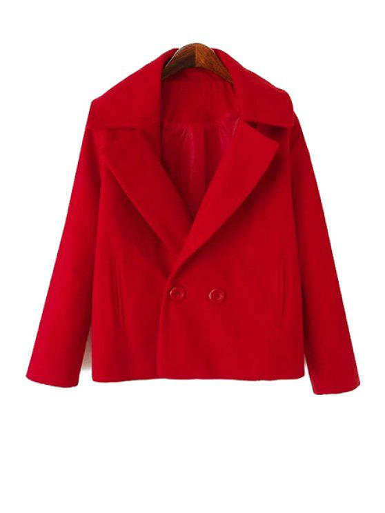 shop Solid Color Lapel Collar Worsted Coat - RED XL