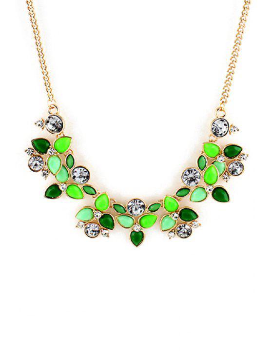 latest Gemstone Embellished Flower Necklace - COLOR ASSORTED