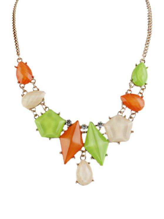 fashion Faux Gem Geometric Necklace - AS THE PICTURE