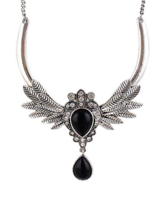 chic Faux Gem Feather Necklace - BLACK
