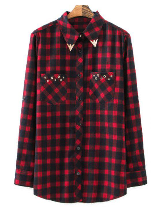 best Plaid Long Sleeve Pocket Shirt - CHECKED S