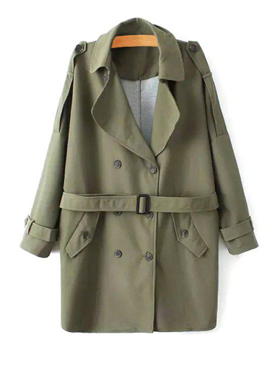 fashion Solid Color Long Sleeve Trench Coat - GREEN ONE SIZE(FIT SIZE XS TO M)