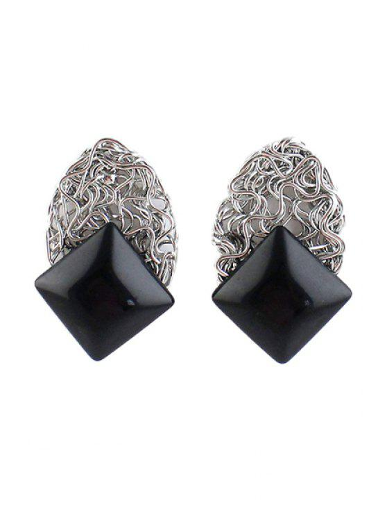 affordable Pair of Faux Gem Square Earring - BLACK