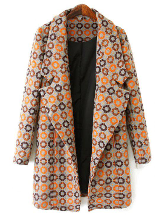 sale Circle Pattern Long Sleeve Coat - COLORMIX S