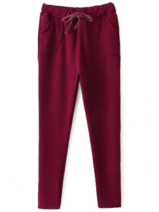 unique Solid Color Elastic Waist Pants - RED ONE SIZE(FIT SIZE XS TO M)