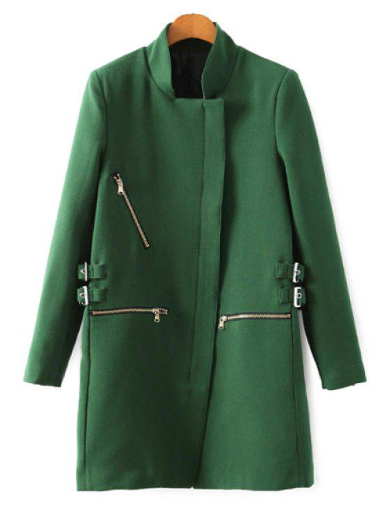 women Stand Collar Solid Color Zipper Coat - GREEN S