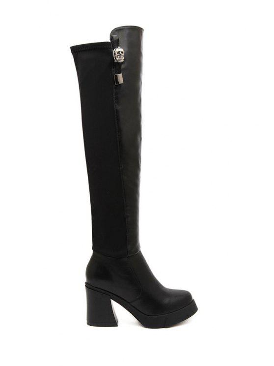 ladies Black Metallic Chunky Heel Thigh Boots - BLACK 35