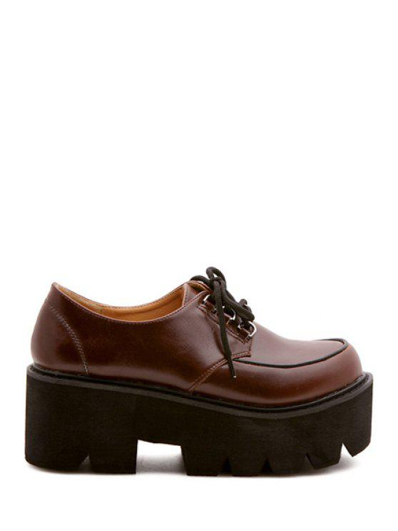 latest Wedge Heel Lace-Up Plarform Shoes - BROWN 35