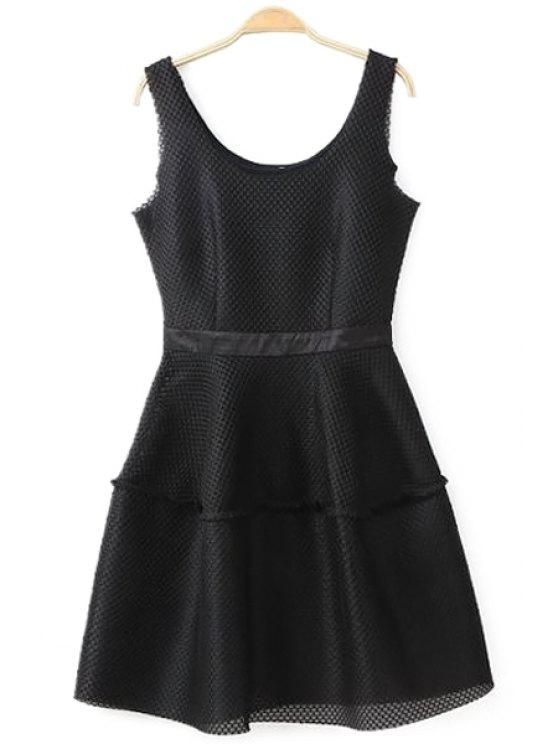 women's Solid Color Mesh Design Sundress - BLACK S