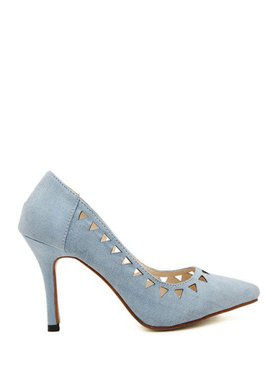 shop Stiletto Heel Hollow Out Pointed Toe Pumps - BLUE 35