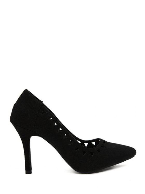 lady Stiletto Heel Hollow Out Pointed Toe Pumps - BLACK 39