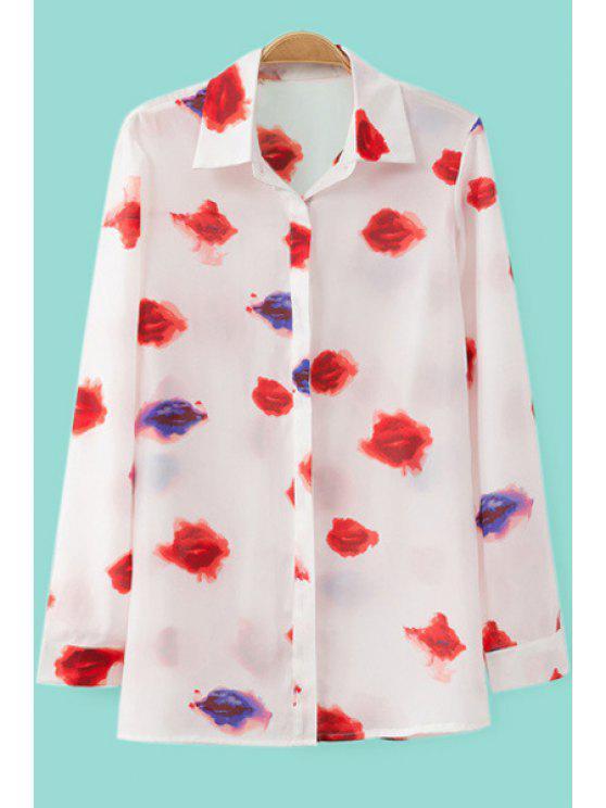 hot Lip Print Turn-Down Collar Shirt - WHITE S