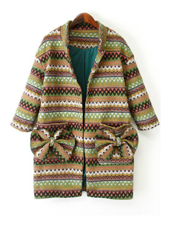 lady Ethnic Pattern 3/4 Sleeve Bowknot Coat - COLORMIX S
