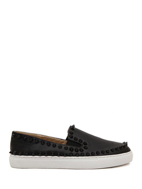 chic Black Round Toe Rivets Flat Shoes - BLACK 35