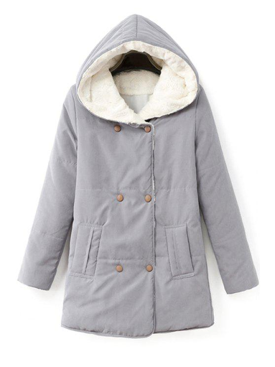 new Solid Color Double-Breasted Coat - GRAY S