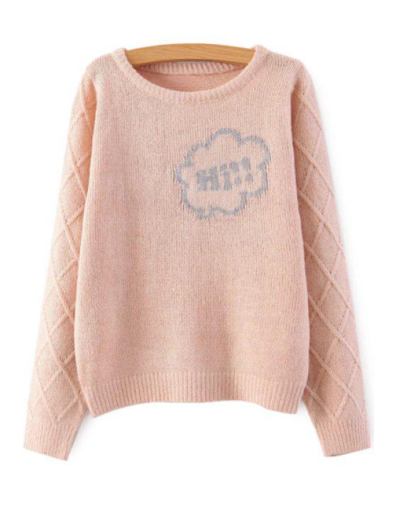 ladies Long Sleeve Letter Pattern Sweater - PINK ONE SIZE(FIT SIZE XS TO M)