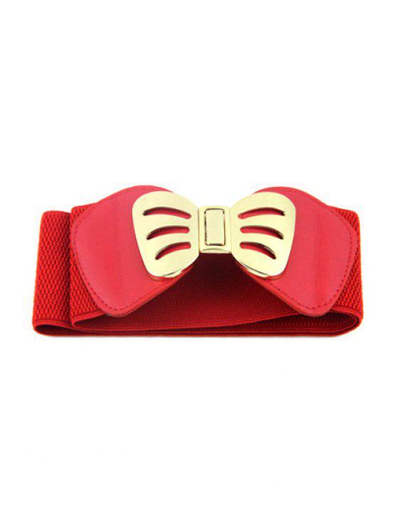 ladies Bowknot Buckle Elastic Belt - RED