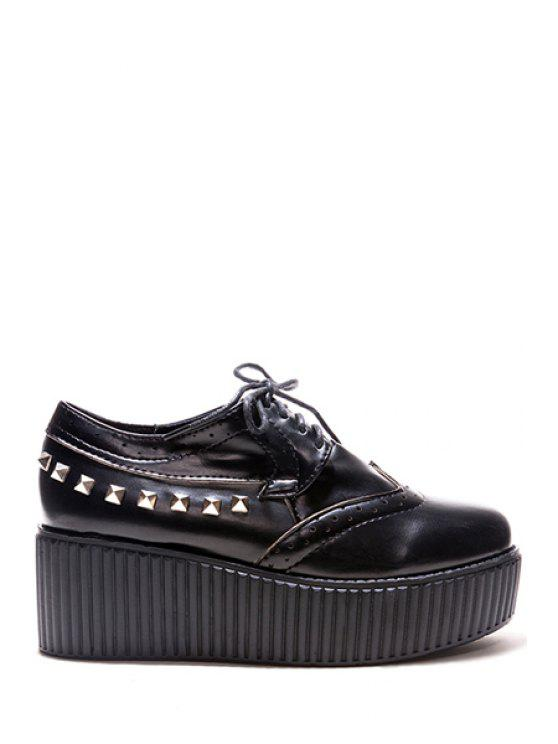 ladies Rivets Hollow Out Platform Shoes - BLACK 37