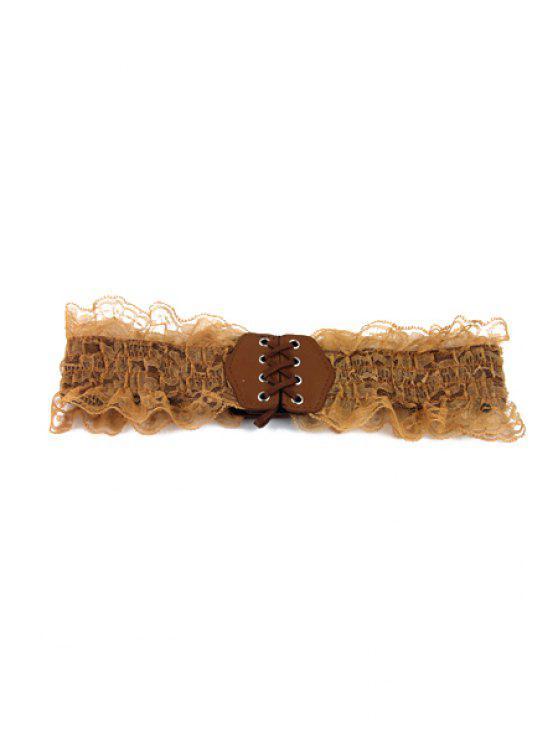 outfit Lace Ruffles Elastic Belt - CAMEL
