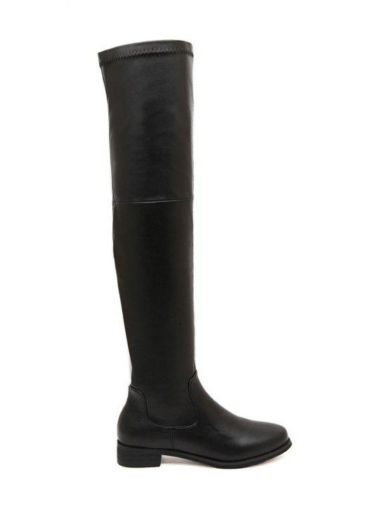 hot Black Stitching Over The Knee Boots - BLACK 35