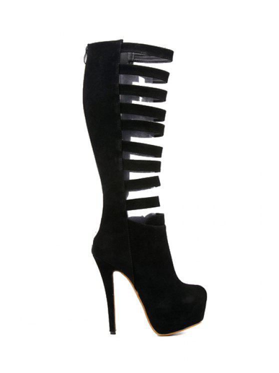 latest Sexy High Heel Hollow Out Boots - BLACK 35