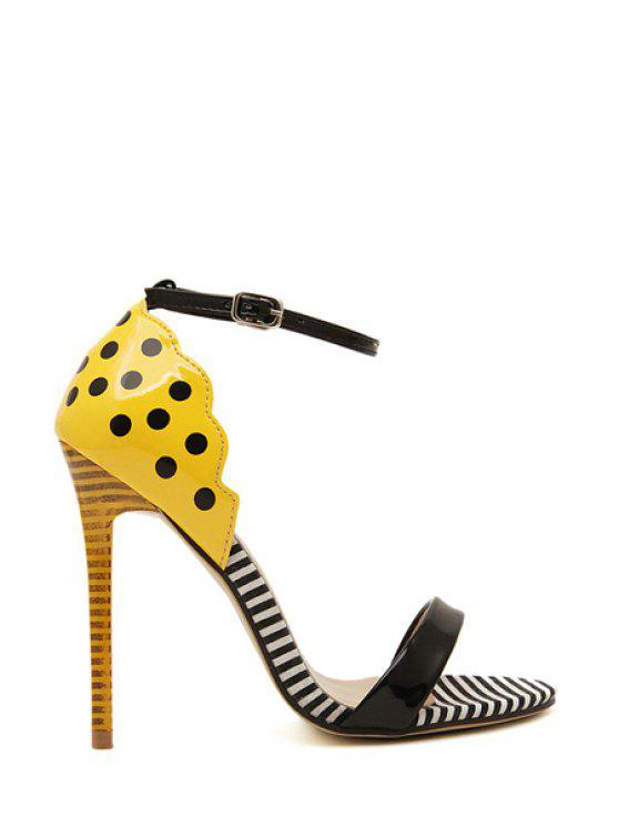 trendy Patent Leather Stiletto Heel Dot Sandals - YELLOW 35