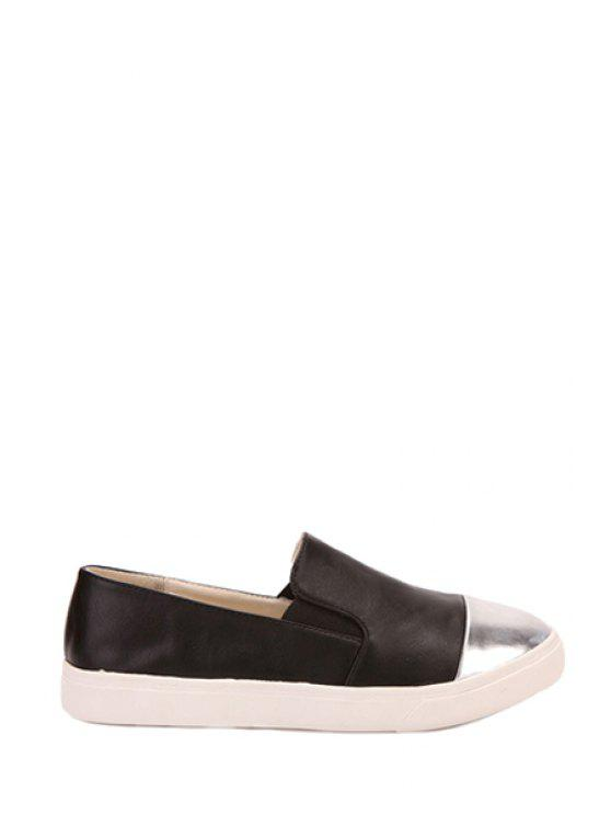 outfits Color Block Round Toe Flat Shoes - BLACK 35