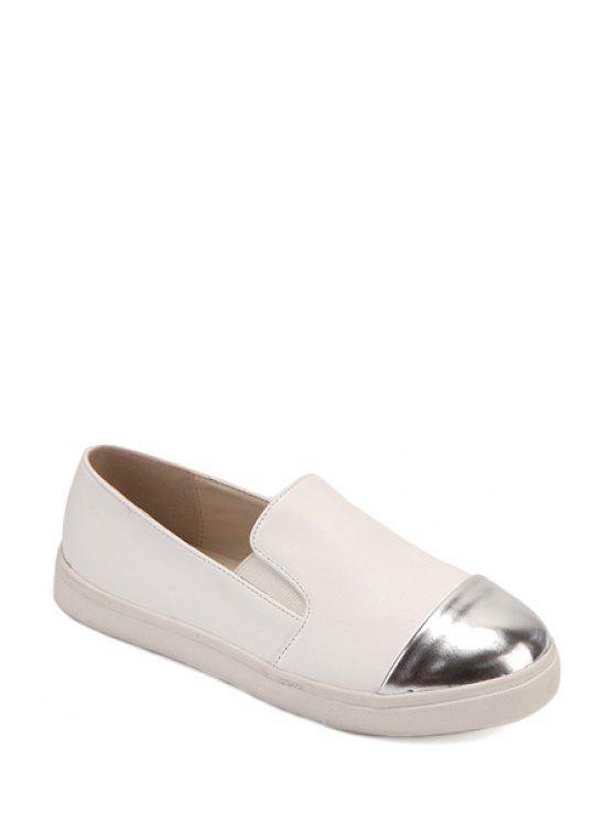 sale Color Block Round Toe Flat Shoes - WHITE 39