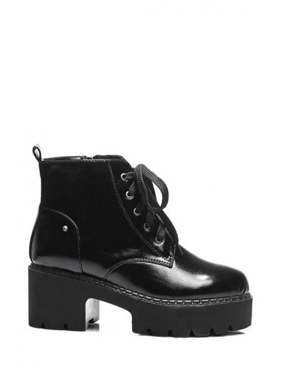 latest Platform Round Toe Lace-Up Ankle Boots - BLACK 36
