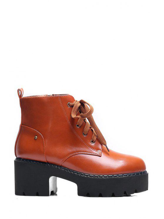 fancy Platform Round Toe Lace-Up Ankle Boots - BROWN 35