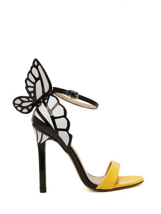 hot Butterfly Color Block Stiletto Heel Sandals - YELLOW 39