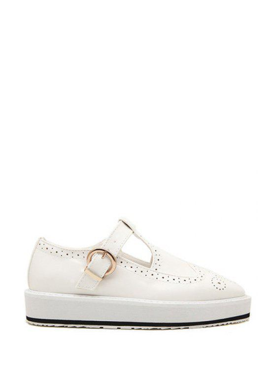 online Hollow Out Square Toe Flat Shoes - WHITE 38