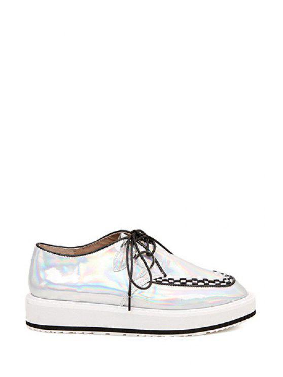 hot Square Toe Weaving Lace-Up Flat Shoes - SILVER 35