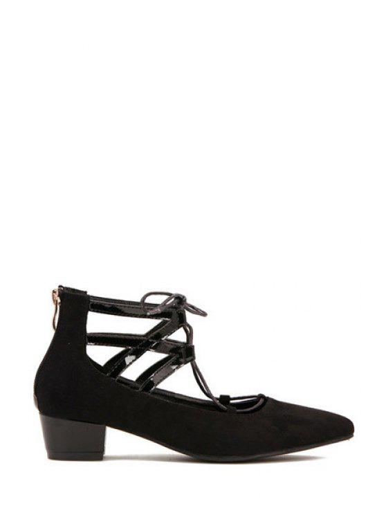 shops Hollow Out Pointed Toe Lace-Up Pumps - BLACK 35