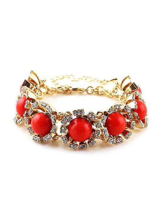 outfits Faux Gem Flower Bracelet - RED