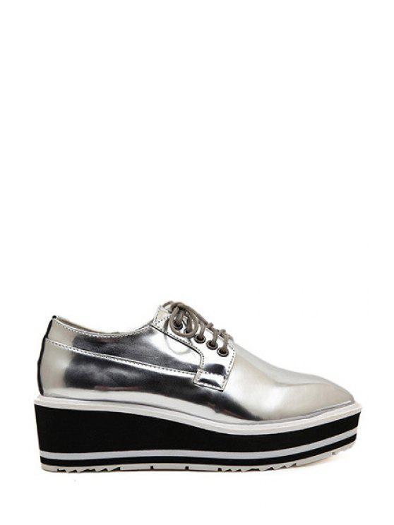 ladies Square Toe Lace-Up Platform Shoes - SILVER 35