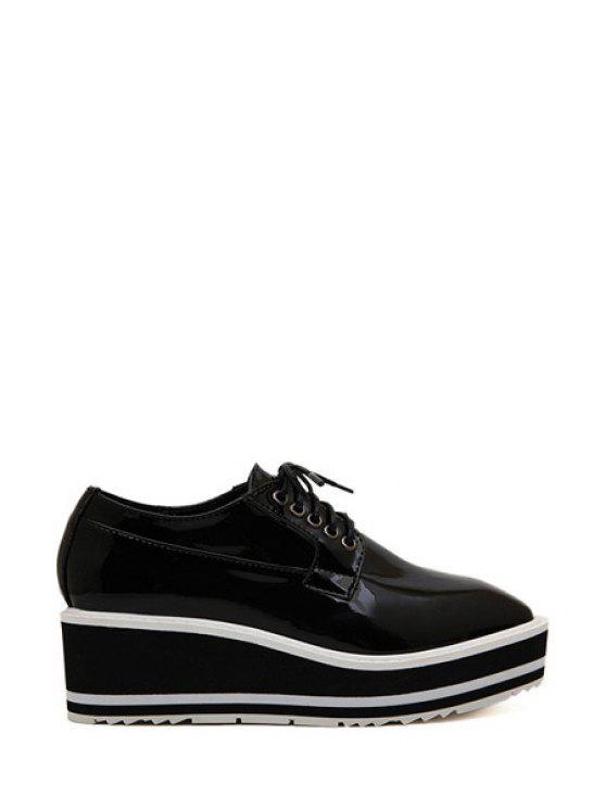 outfits Square Toe Lace-Up Platform Shoes - BLACK 37