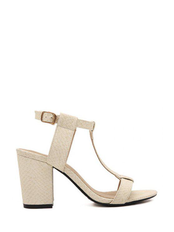 affordable Chunky Heel T-Strap Solid Color Sandals - APRICOT 39