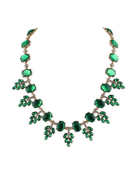 women Faux Gemstone Special Shape Necklace - GREEN