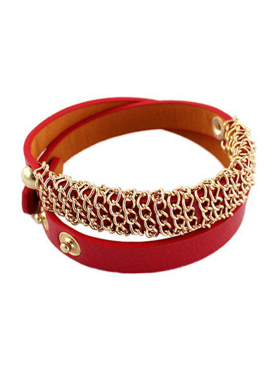 best Layered Leather Bracelet - RED