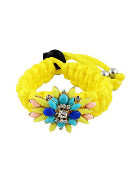 outfits Faux Gemstone Flower Bracelet - YELLOW