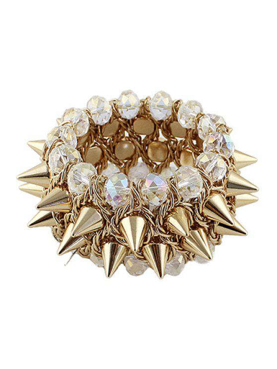 trendy Rivet and Faux Gem Bracelet - WHITE AND GOLDEN