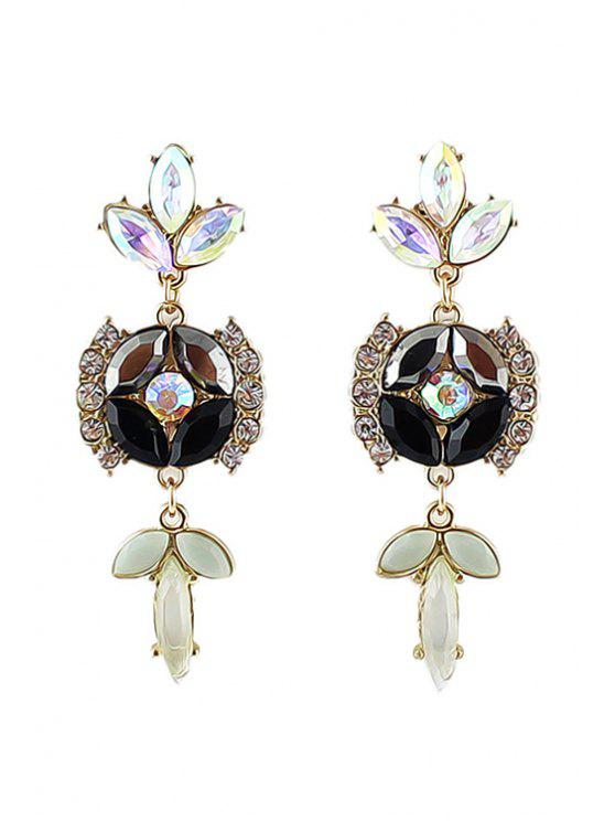buy Pair of Faux Gem Decorated Earring - AS THE PICTURE